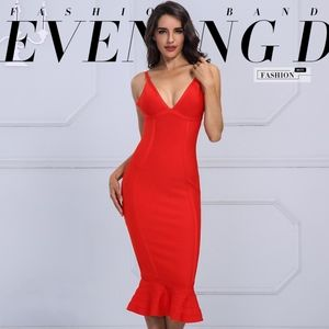 Bandage V-Neck Midi Mermaid Dress in Bright Red